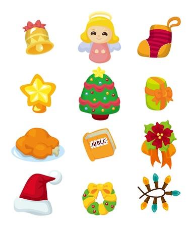 cute cartoon Christmas element icon set  Vector