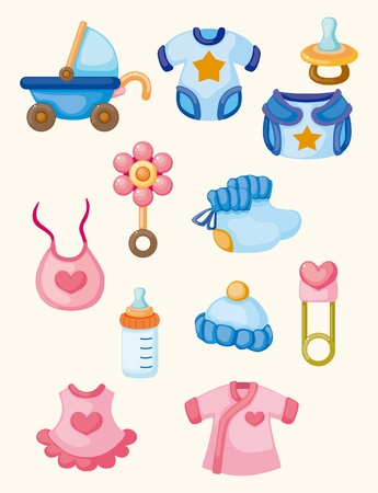 cartoon baby good icon set  Vector