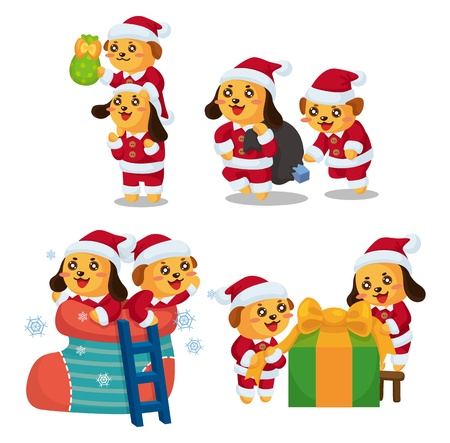 cute cartoon Christmas Holiday,animal  santa, Vector