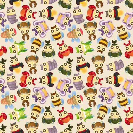 cartoon insect bug seamless pattern Vector