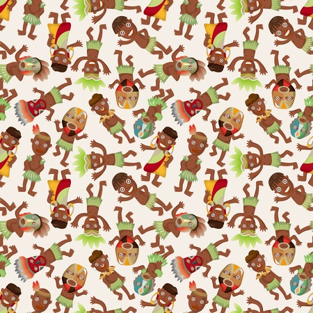 african warriors: cartoon Africa Indigenous seamless pattern