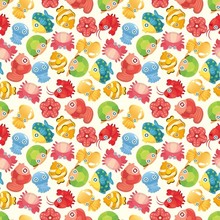 cartoon aquatic fish animal seamless pattern Vector
