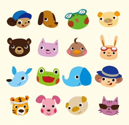 cartoon animal face set 일러스트