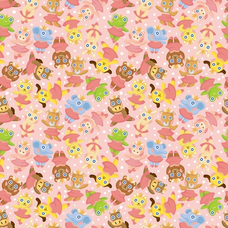 cartoon animal ballerina seamless pattern Vector