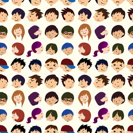 seamless young people face pattern Stock Vector - 11158370