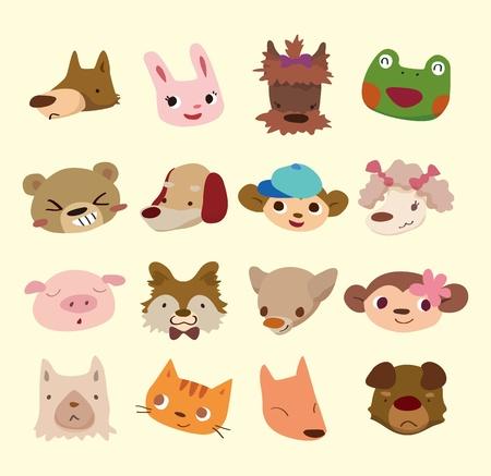 fox face: dibujos animados iconos de animales frente a Vectores