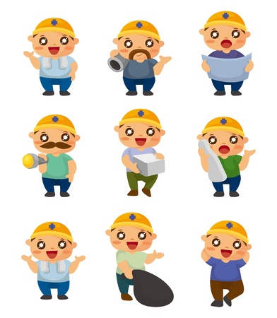 cartoon worker icon Stock Vector - 11158410