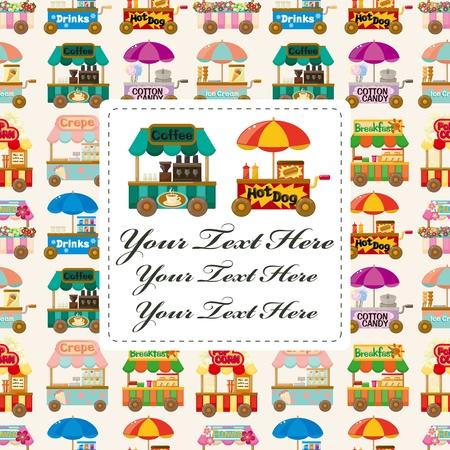 candy shop: Cartoon market store car card Illustration