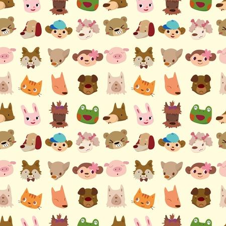 cartoon animal face seamless pattern Vector