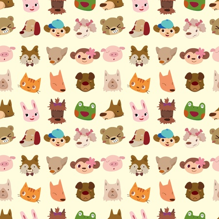 cartoon chihuahua: cartoon animal face seamless pattern Illustration
