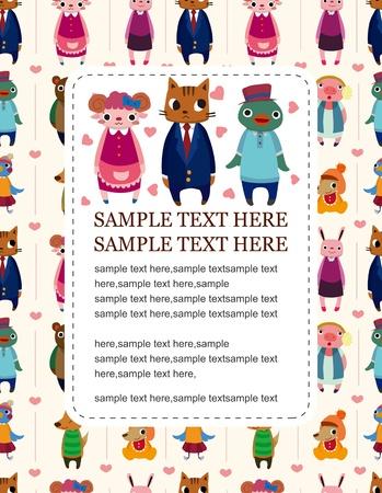 cartoon animal family card Vector