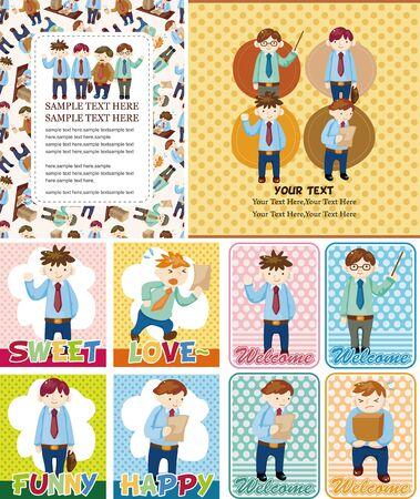 Cartoon office worker card  Vector