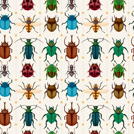 firefly: cartoon insect bug seamless pattern  Illustration