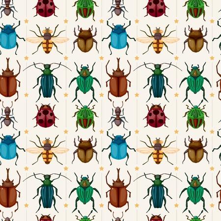 escarabajo: dibujos animados de insectos error sin patr�n Vectores
