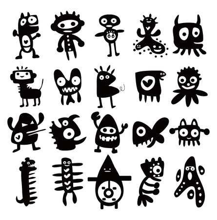 Collection of cartoon funny monsters silhouettes Stock Vector - 11224976