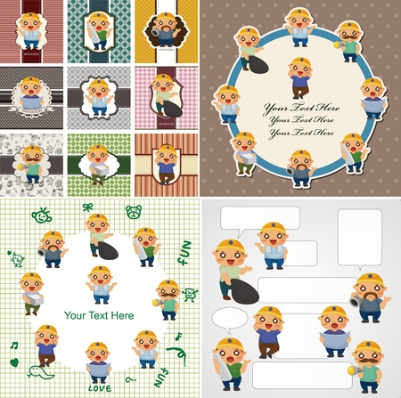 cartoon worker card Stock Vector - 11225010