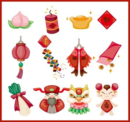 lingotto: Capodanno cinese elementi decorativi Vettoriali