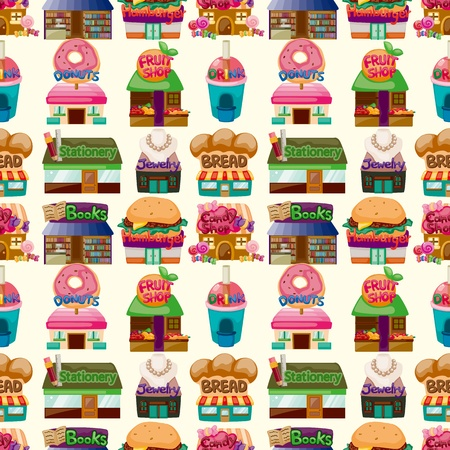 candy shop: cartoon shophouse seamless