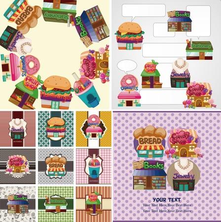 cartoon shop/house card