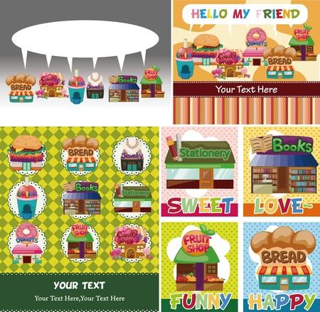 stationery border: cartoon shophouse card Illustration
