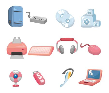 cartoon computer icon  Vector