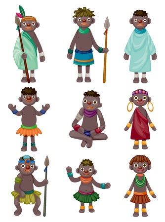 cartoon Africa Indigenous icons  Vector