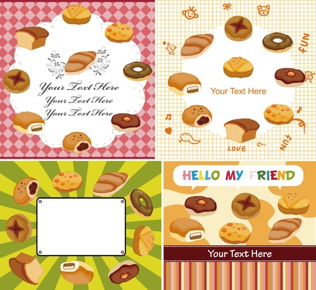 toasted bread: cartoon bread card