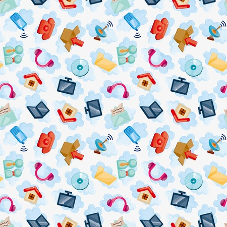 Icons for Cloud network ,seamless pattern  Vector