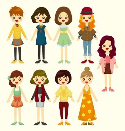 character illustration: cartoon girl icon