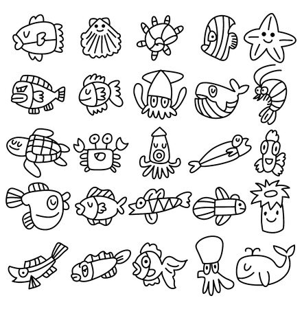 squid: hand draw aquarium fish icons set