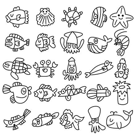 pez espada: mano de la cuerda iconos de peces de acuario conjunto