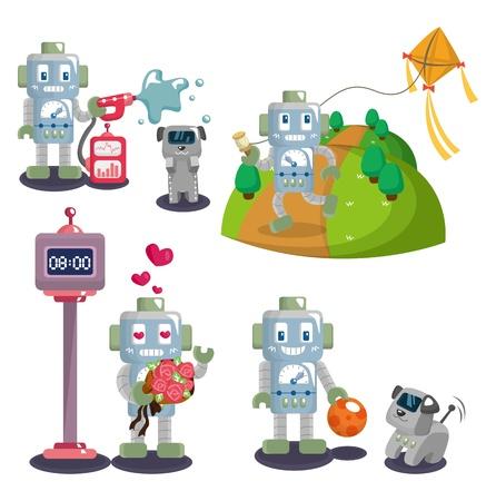 space program: cartoon robot set