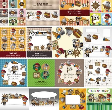dieven: cartoon piraat kaart Stock Illustratie