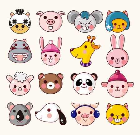 cartoon animal face icons Vector