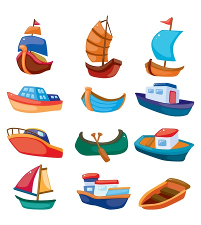 cartoon boat icon Vector