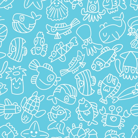 cartoon hand draw fish seamless pattern Vector