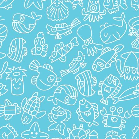 cartoon hand draw fish seamless pattern Vector
