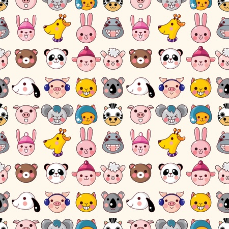 cartoon animal face seamless pattern Vector