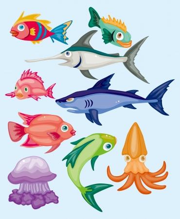 황새치: 만화 수생 동물 세트