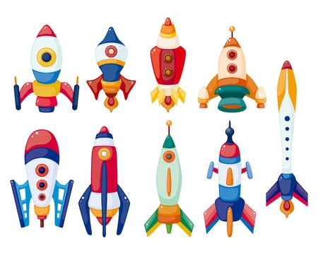 astronaut in space: cartoon spaceship icon set