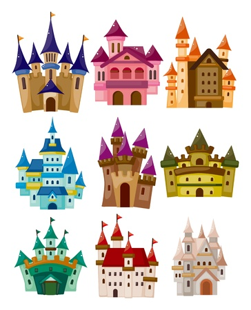 hadas caricatura: dibujos animados del cuento de hadas castillo icono