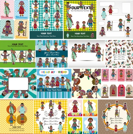 aborigine: dibujos animados de �frica ind�genas tarjeta