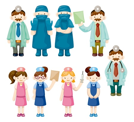 cartoon doctor and nurse icons  Vector