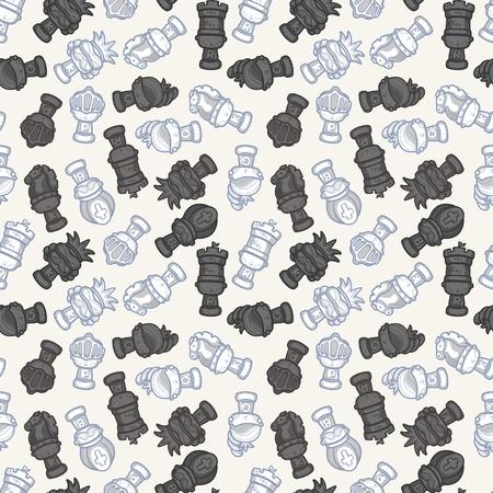 cartoon chess seamless pattern  Vector