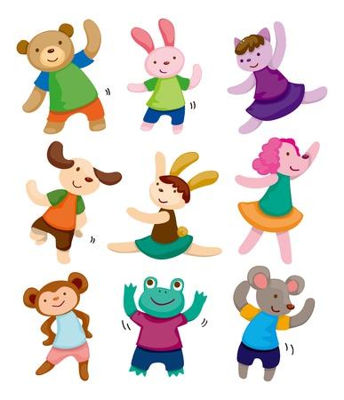 deportes caricatura: dibujos animados iconos de animales bailarín