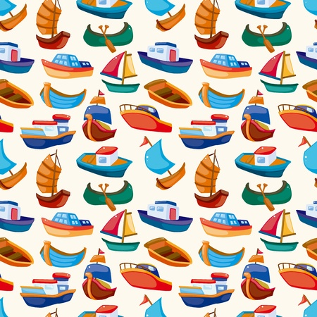transportation cartoon: seamless boat pattern  Illustration