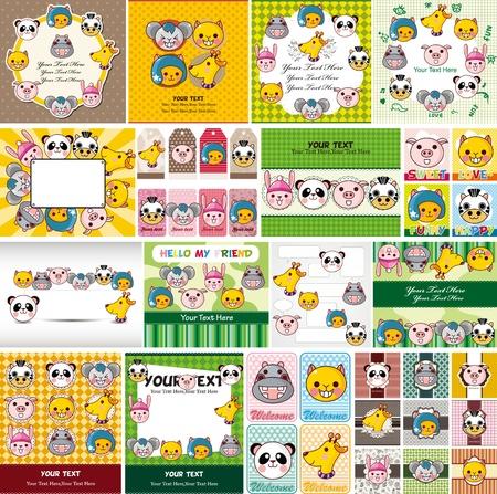 cartoon animal face card Stock Vector - 11383134