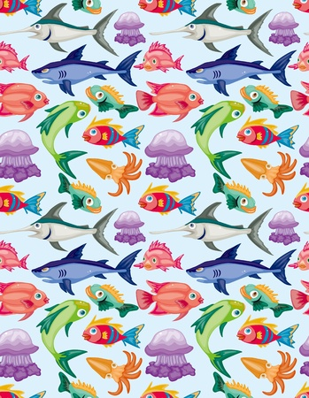 cartoon aquatic animal seamless pattern Vector