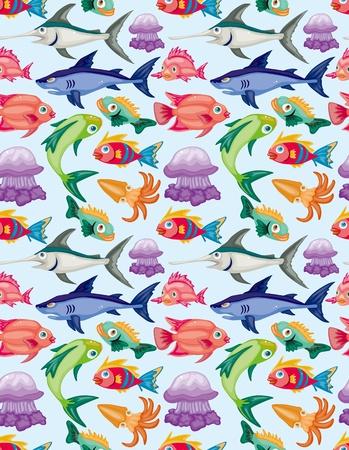 Dibujos animados acuáticos patrón de los animales sin problemas Foto de archivo - 11383137