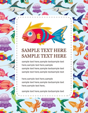 cartoon aquatic animal card Vector